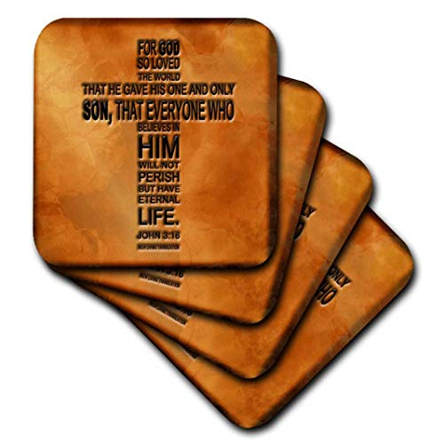 3dRose CST_29092_3 John 3 16 Bible Verse Embossed on a Copper Background Ceramic Tile Coasters (Set of 4)