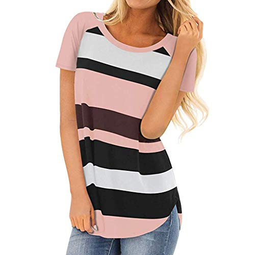 Womens Short Sleeve Round Neck T Shirts Color Block Striped Casual Blouses Tops (2XL, Pink)