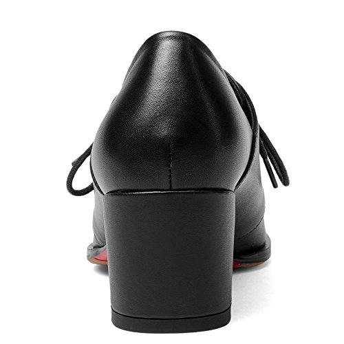 Nueve Siete De Cuero De Vaca Para Mujer Del Dedo Del Pie Cuadrado Tacón Grueso Con Cordones Bombas Hechas A Mano Clásicas Zapatos Negro