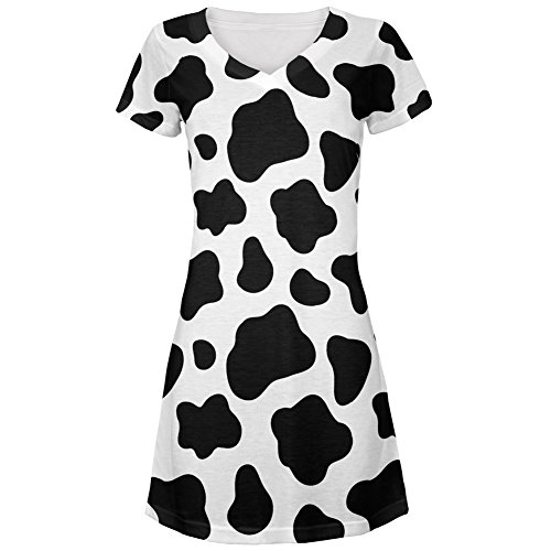 [Cow Pattern Costume All Over Juniors V-Neck Dress - Small] (Women Cow Costumes)