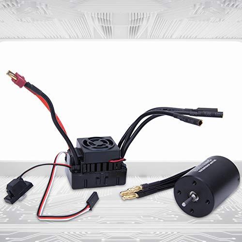 Woyisisi RC Brushless Motor, Surpass-Hobby 3650 Brushless Motor + 60A ESC Black Waterproof Set Fit for 1/10 RC Car(3900KV)