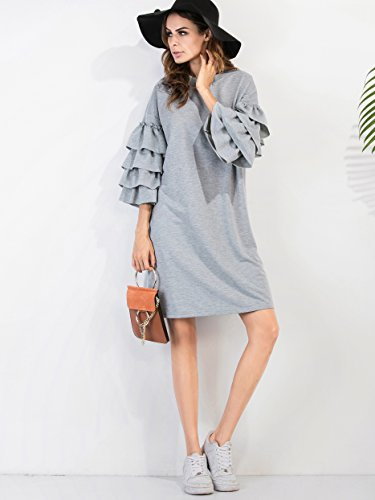 3 Robe ROMWE Courtes Manches 4 Gris Femme plisse I8TdzO