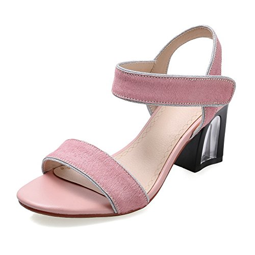 AllhqFashion Women's Imitated Suede Solid Hook-and-loop Open Toe High-Heels Sandals Pink