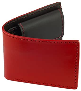 Leather Bifold Wallet Heavy Duty Leather Coin Pocket Red W Brown Interior At Amazon Men S