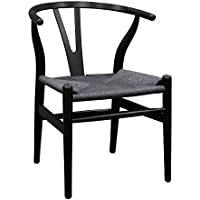 Ergo Furnishings Mid-Century Modern Wishbone Wood Dining Accent Chair, Black+Black