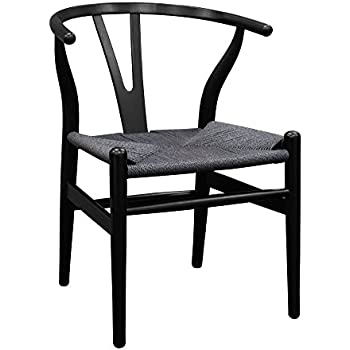 Ergo Furnishings Mid Century Modern Wishbone Wood Dining Accent Chair, Black +Black