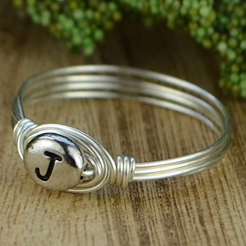 Letter J Initial//Monogram Bead and Sterling Silver or Gold Filled Wire Wrapped Ring Custom made to size 4-14