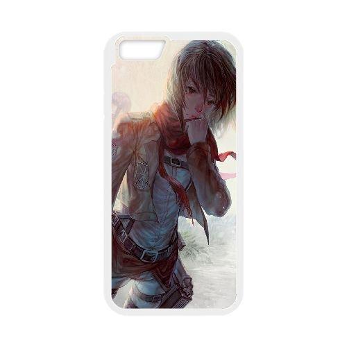 Mikasa Ackerman Attack On Titan coque iPhone 6 Plus 5.5 Inch Housse Blanc téléphone portable couverture de cas coque EOKXLKNBC25958
