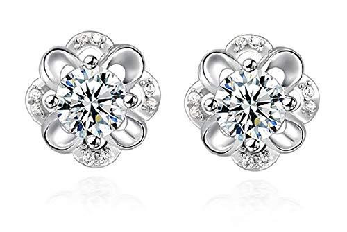 MiniJewelry Lucky Clover Earrings for Women Flower 925 Sterling Silver Stud Earrings with Gift - Lucky Earrings Clover