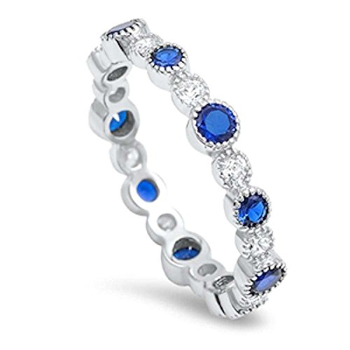 (Eternity Wedding Band Ring Round Simulated Blue Sapphire Round CZ 925 Sterling Silver, Size-7)