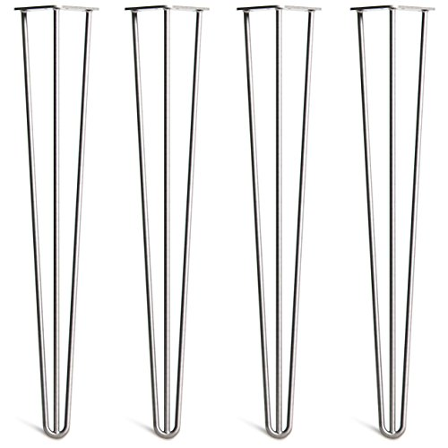 - 4 x Hairpin Table Legs - Superior Double Weld Steel Construction with Free Screws, Build Guide & Protector Feet, Worth $10! - Mid-Century Modern Style - 4