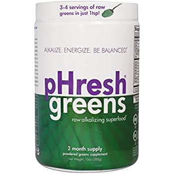 pHresh greens Organic Raw Alkalizing Superfood Greens Powder - 2 Month Supply  | Gluten-Free | Natural Enzymes | Raw Nutrients | Great for Intermittent Fasting 10oz