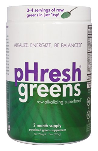 pHresh greens Organic Raw Alkalizing Superfood Greens Powder - 2 Month Supply  | Gluten-Free | Natural Enzymes | Raw Nutrients | Great for Intermittent Fasting 10oz Green Label Organic Support