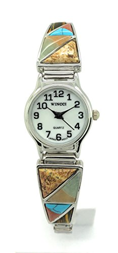 Ladies Stones Stretch Elastic Band Fashion Watch Pearl Dial Wincci (Multi-Color 1)