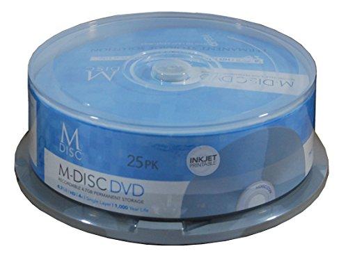 Millenniata Permanent 4X DVD+R Blank Media M-DISC 4.7GB Data (MD-InkJet-25PK)