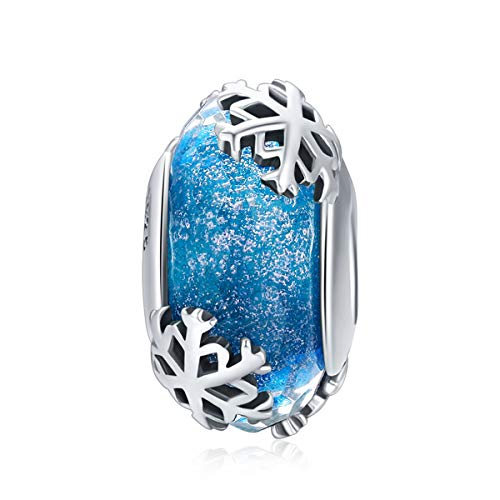 Murano Glass Beads Authentic 925 Sterling Silver Charms Core Faceted Christmas Snowflake Flower Star Glass Charms Bracelet for Women Pandora Bracelet (Blue Snowflakes - Christmas Snowflake Charm