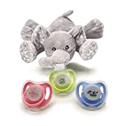 Baby Pacifier Holder with Soft Stuffed Elephant Detachable Plush Stuffed Animal Toy for Infant Boys Girls 3-18 Months