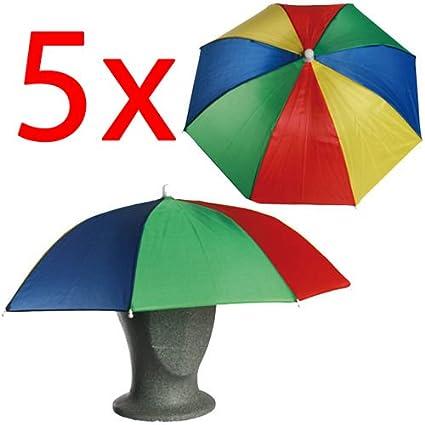5 x paraguas cabeza gorro para acampada o pesca parasol plegable al aire libre