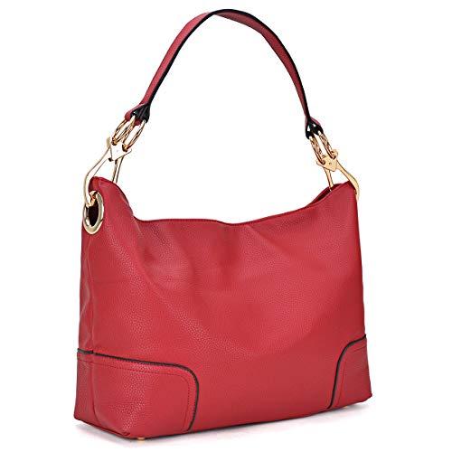 Classic Women Hobo Shoulder Bag Ladies Tote Purses Handbag with Big Snap Hook (Large-Red) ()