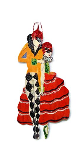 Art Deco New Years Ornament Decoration Christmas Peirrot Costume Masquerade Ball Gift ()