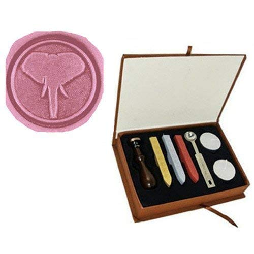(Vintage Fancy Elephant Ears Nose Ivory Picture Logo Wedding Invitation Art Wax Seal Sealing Stamp Sticks Spoon Gift Box Set Kit)