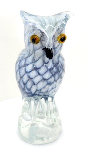 Hand Blown Glass Grey and White Feathered Owl Paperweight