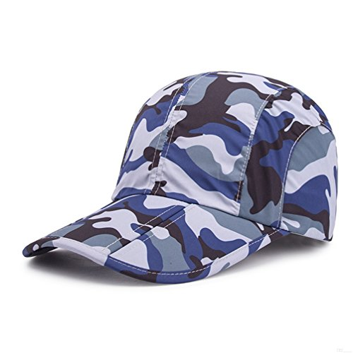 Camo Blue Camo Hat,Camouflage Baseball Cap,Breathable Running Quick Dry Folding Brim Hat Under 10 UV Sun Protection Visor Baseball Hats Adult Outdoor Fishing Golf Baseball Cap for Men Women AB40 (Digital Camo Winter Hat)