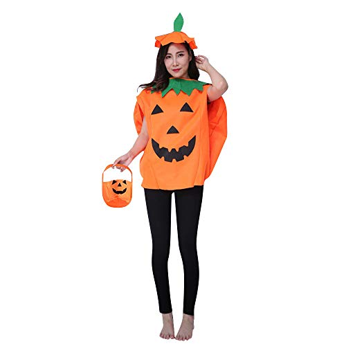 QBSM Adult Halloween Orange Pumpkin Costume Suit Party Cosplay Clothing Clothes with Hat Bag