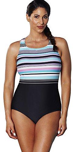 Aquabelle Women's Plus Size Chlorine Resistant Dive High-Neck Swimsuit 22 Multi