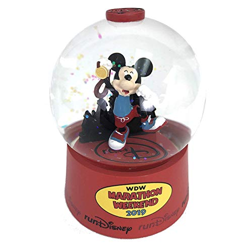 Disney 2019 WDW Run World Marathon Mickey Mouse Finish Line Mini Snow Globe