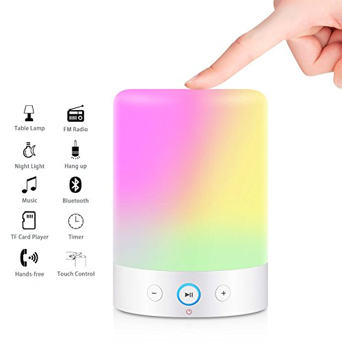 MOXNICE Table Lamp with Bluetooth Speaker Portable Dimmable Night Lights Smart Touch Wireless Speaker Bedside Lamps with Color Changing,Hands-free,Timing Function, Best Gift for Baby Kid Teen Women by MOXNICE (Image #7)