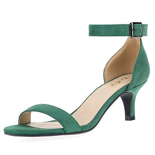 (ZriEy Women Sexy Open Toe Ankle Straps Low Heel Sandals Velvet Green Size 6.5/37 M EU)