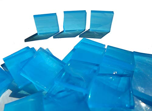 1/2 Square Glass Mosaic (FortySevenGems 100 Pieces Stained Glass Mosaic Tiles 1/2-Inch Light Blue and White Glass)