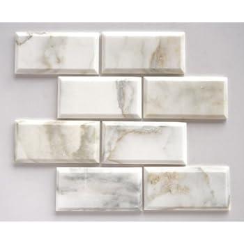 quality beveled subway tile   Calacatta Oro Marble 3X6 Deep - Beveled & Honed Subway ...