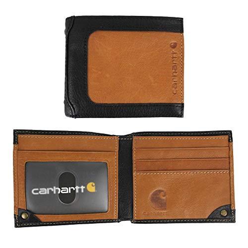 Carhartt Men's Billfold Wallet, Black/Tan, One Size