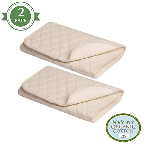 - American Baby Company Waterproof Quilted Lap and Burp Pad Cover made with Organic Cotton, Natural Color, 2 Pack