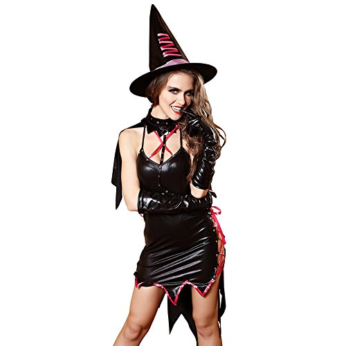 ThinkMax 4pcs/set PU Leather Dress + Gloves + Neck Collar + Hat Women Sexy Lingerie Female Halloween Devil Witch Role Play Costume