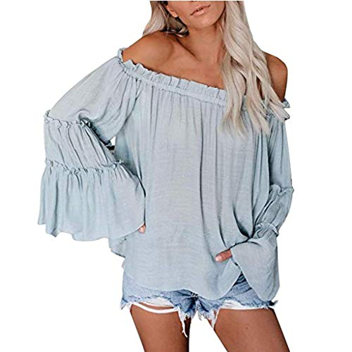 Womens Off The Shoulder Tops Long Bell Sleeve Flared Casual Loose Blouses ()