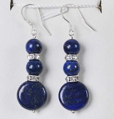FidgetKute Natural Egyptian Lapis Lazuli Beads Gemstones/Silver Hook Dangle Earrings AAA 8mm Round /14mm Coin