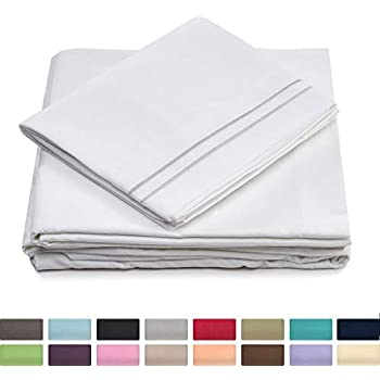Cosy House Collection Split King Bed Sheets - White Luxury Sheet Set - Deep Pocket - Super Soft Hotel Bedding - Cool & Wrinkle Free - 2 Fitted, 1 Flat, 2 Pillow Cases - SplitKing Sheets - 5 Piece