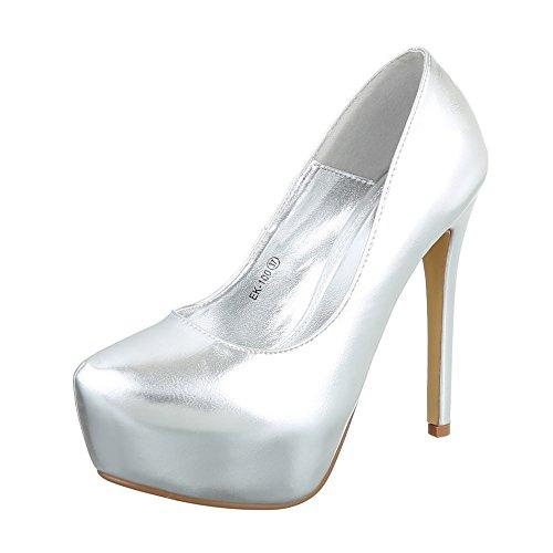 Ital-Design High Heel Damenschuhe Plateau Pfennig-/Stilettoabsatz High Heels Pumps Silber EK-100