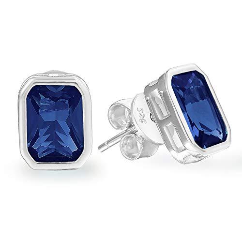 (925 Sterling Silver Earrings - Clear Natural Tanzanite Zircon Stone Stud Earring - Hypoallergenic for Women Girl)