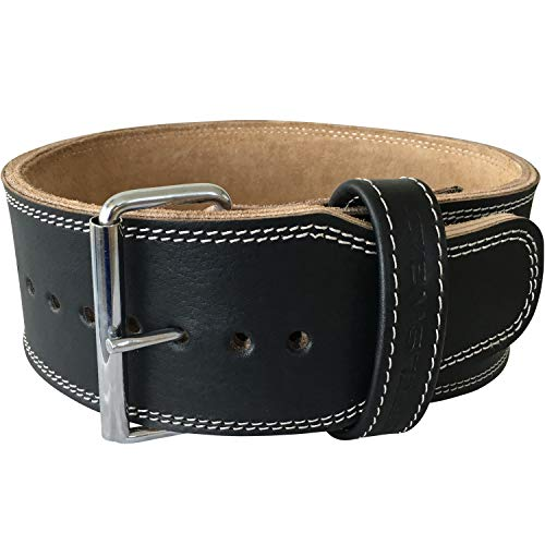 Steel Sweat Weight Lifting Belt - 4 Inches Wide by 10mm - Single Prong Powerlifting Belt That's Heavy Duty - Genuine Cowhide Leather - Small Texus by Steel Sweat (Image #1)