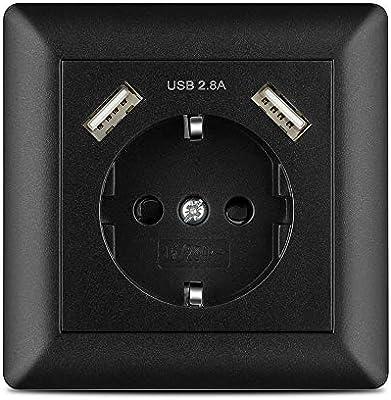 Enchufe pared USB 2.8A Negro, Kaifire Schuko Toma de corriente con 2 puertos USB System 55 Instalación empotrado - Cargador para Smartphone Tablet MP3: Amazon.es: Bricolaje y herramientas