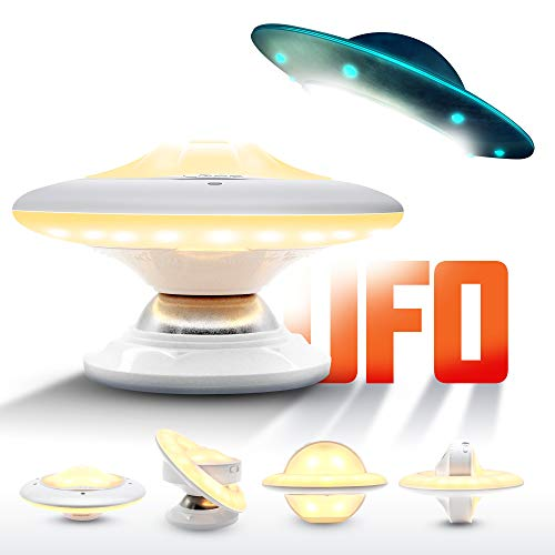 LED Night Light, UFO Desigh Warm White Motion Sensor Closet Light [Rechargeable/Waterproof/Stick-Anywhere] Wall Light for Bedroom, Bathroom, Kitchen, Hallway, Energy Efficient Battery Operated