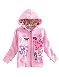 LEMONBABY Girls Peppa Pig Fall Full-Zip Fleece Jacket Hooded Long Sleeve Outfit