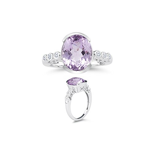 0.12 Cts Diamond & 4.51 Cts Kunzite Ring in 14K White (Cts Kunzite Ring)