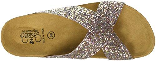 Le Temps des Cerises Falone, Sandalias con Punta Abierta Para Mujer Rose (glitter Cooper)