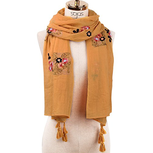 Wrap Embroidery (SOJOS Chiffon Scarf for Women Soft Lightweight Stylish Shawl Wrap SC313 With Embroidery Flower - Yellow With Fringes)