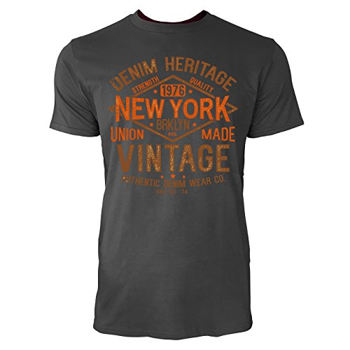 Sinus Art ® Herren T Shirt Denim Heritage New York ( Smoke ) Crewneck Tee with Frontartwork
